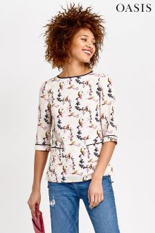 Oasis Multi Lotus Bird Patched Pocket Top