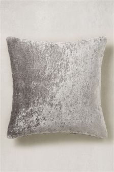 Large Textured Velvet and Faux Silk Cushion