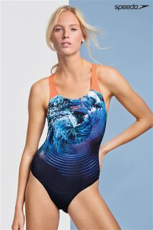 Speedo® Black And Turquoise Stormflow Digital Powerback Swimsuit