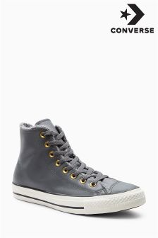 Converse Grey Leather Hi Top