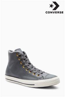 Converse Grey Leather Hi Top