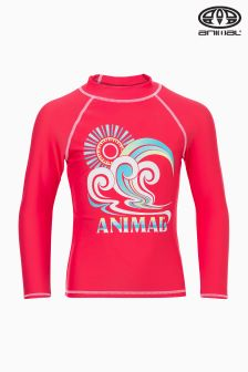 Animal Catch It Pink Long Sleeve Rash Vest