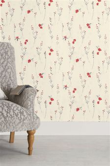 Paste The Wall Eden Floral Red Wallpaper