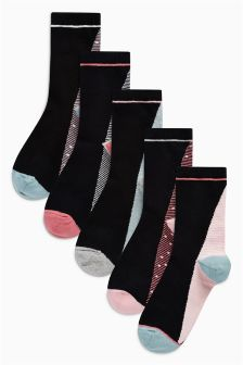 Stripe Ankle Socks Five Pack