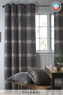 Charcoal Astley Bouclé Check Eyelet Thermal Curtains