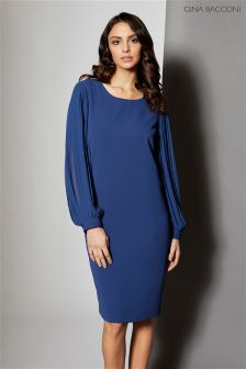 Gina Bacconi Navy Crepe Dress With Pleated Chiffon Sleeve
