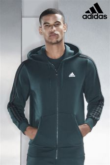 adidas Green Night Essential 3 Stripe Zip Through Hoody