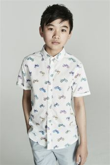 Short Sleeve Motorbike Print Shirt (3-16yrs)