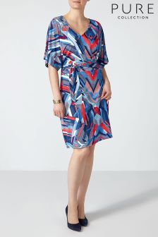 Pure Collection Graphic Tile Print Kimono Sleeve Jersey Dress