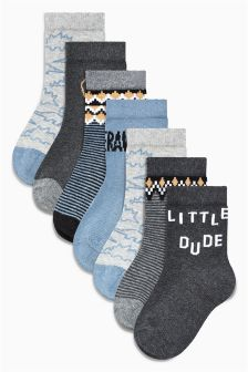Dinosaur Slogan Socks Seven Pack (Younger Boys)