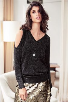 Metallised Fibre Cold Shoulder Sweater
