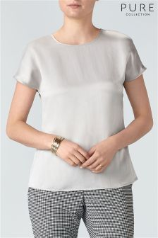 Pure Collection Silver Silk Satin T-Shirt