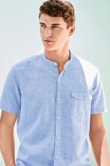 Short Sleeve Linen Blend Grandad Shirt