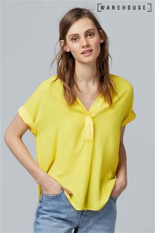 Warehouse Yellow Satin Mix Blouse