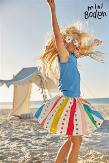 Boden Natural Twirly Rainbow Skirt