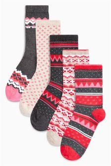 Fairisle Pattern Ankle Socks Five Pack