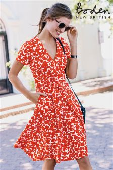Boden Red Shadow Spot Lara Wrap Dress