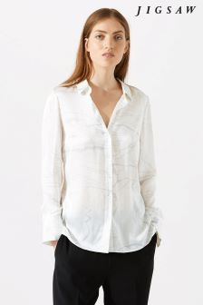 Jigsaw Cream Waterpool Silk Blouse