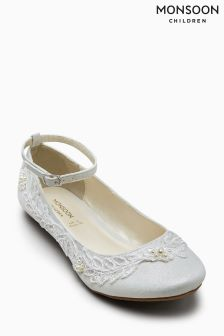 Monsoon Ivory Delicate Lace And Pearl Ballerina