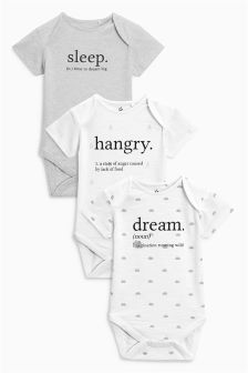 Slogan Short Sleeve Bodysuits Three Pack (0mths-2yrs)