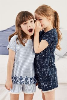 Broderie Short Pyjamas Two Pack (3-16yrs)