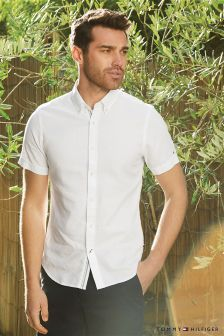 Tommy Hilfiger White Dobby Short Sleeve Shirt