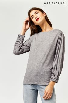 Warehouse Grey Marl Elasticated Cuff Top