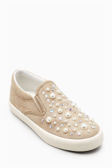 Pearl Effect Stud Skater Shoes (Older Girls)