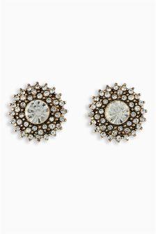 Jewel Circle Stud Earrings