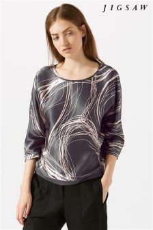 Jigsaw Grey Storm Contours Silk Batwing T-Shirt