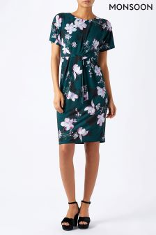 Monsoon Teal Becky Tie Front Dress
