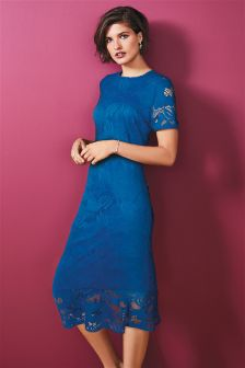 Fluted Hem Lace Dress
