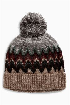 Fairisle Pattern Bobble Hat