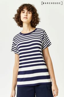 Warehouse Navy Cream Stripe Panel Cut-about Tee