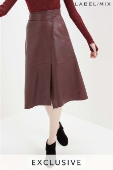 Mix/Lab Wrap Leather Skirt