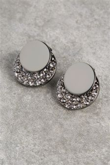 Pave Disc Front To Back Earrings