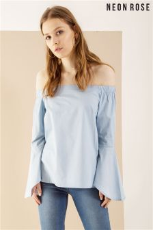 Neon Rose Blue Poplin Fluted Sleeve Bardot Top
