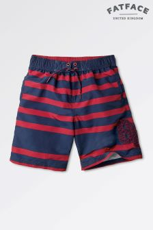 Fat Face Red Lava Stripe Boardies