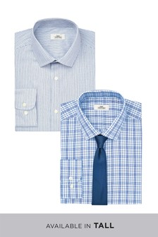 Check And Stripe Shirts With Tie Two Pack