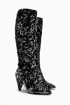 Slouch Sequin Long Boots
