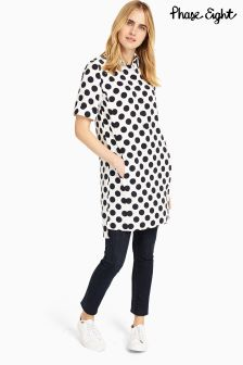 Phase Eight Ivory/Navy Marilyn Spot Dress