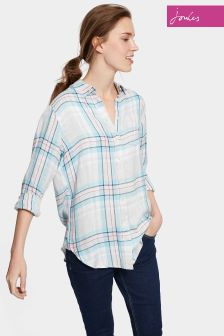 Joules Blue Check Longline Laurel Shirt