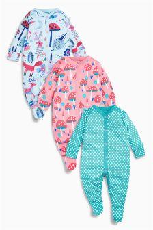 Woodland Sleepsuits Three Pack (0mths-2yrs)