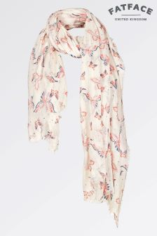 Fat Face Ivory Autumn Butterfly Sequin Scarf