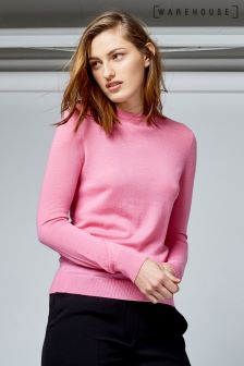 Warehouse Pink Wool Crew Jumper