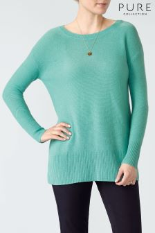 Pure Collection Ocean Green Cashmere Textured Crew Neck Sweater