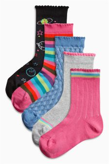 Space Socks Five Pack (Older Girls)