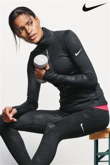 Nike Black Hyperwarm Long Sleeve Half Zip