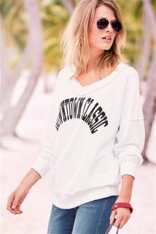 V-Neck Graphic Sweater