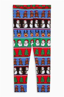 Girls Christmas Wrapping Paper Leggings (3-16yrs)
